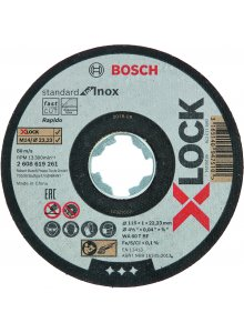 BOSCH 2608619261-BOSCH X-LOCK GRINDING WHEEL STANDARD FOR STAINLESS STEEL 115X1X22.23MM, STRAIGHT-klium