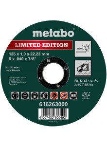 METABO 616263000-METABO LIMITED EDITION 125 X 1.0 X 22.23 MM, INOX, CUTTING DISC, STRAIGHT VERSION-klium