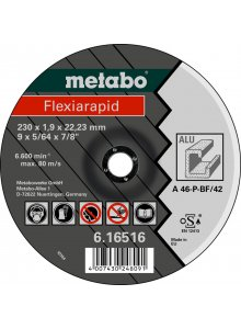 METABO 616512000-METABO FLEXIARAPID 115 X 1.0 X 22.23 MM, ALUMINIUM, CUTTING DISC, FORM 41-klium